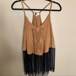 Buckle Cropped Fringe Suede Tank Top Size Medium